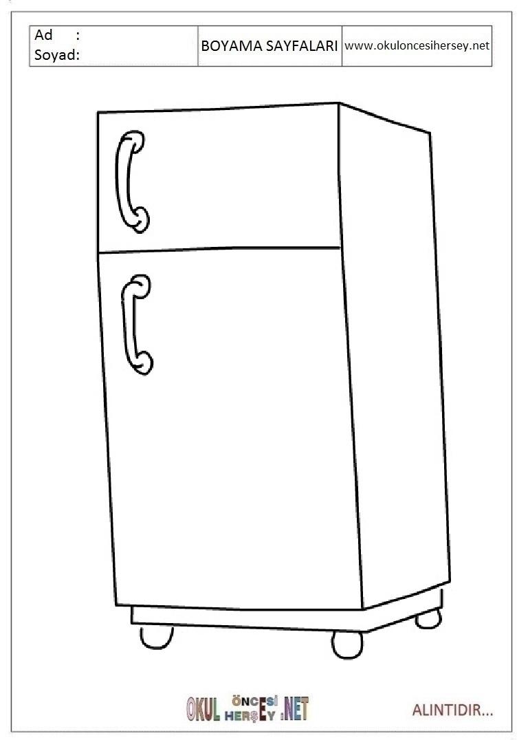Картинка холодильника для раскраски
