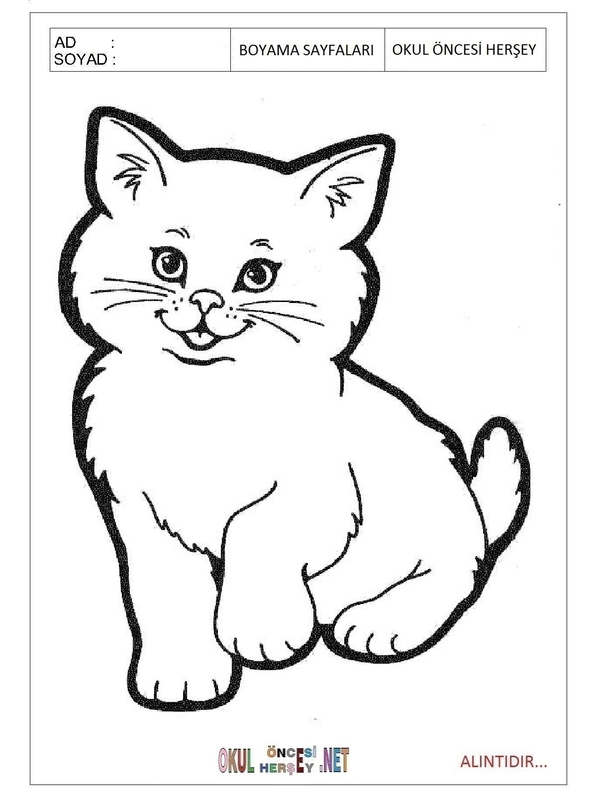 Кот Раскраска Для Детей Распечатать