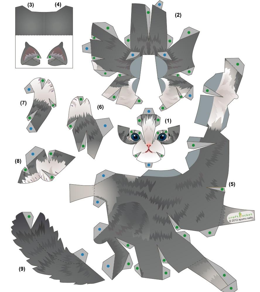Объемные схемы котят из бумаги