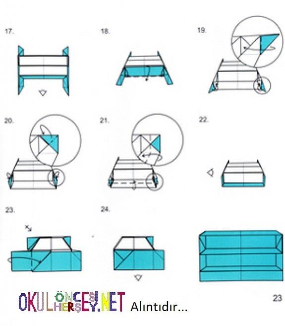 Как сделать из бумаги кровать оригами
