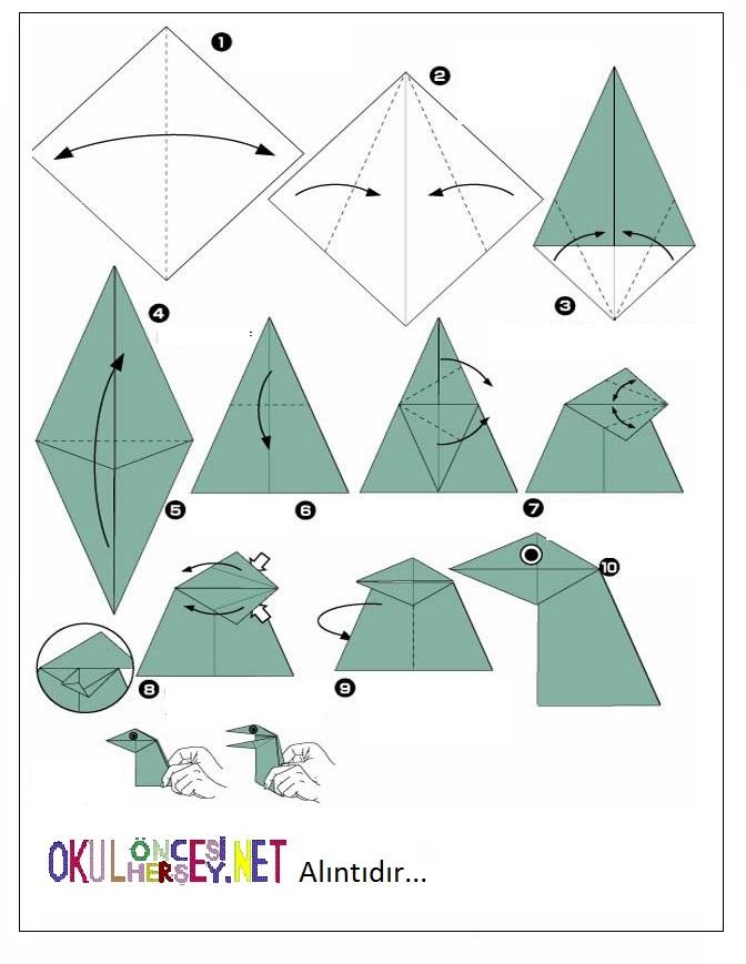 Как сделать из бумаги динозавра схема легко